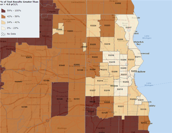 Milwaukee Radon Gas Levels Map Above 4.0 pCi/L