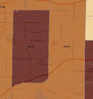 New Berlin WI radon gas levels map